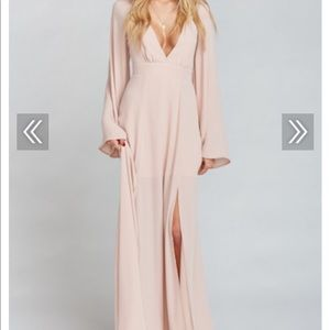 MUMU VENUS LONG SLEEVE DRESS IN DUSTY BLUSH
